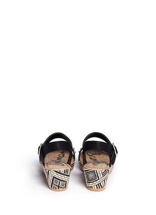 Back View - Click To Enlarge - Sam Edelman - 'Stella' junior raffia wedge platform sandals
