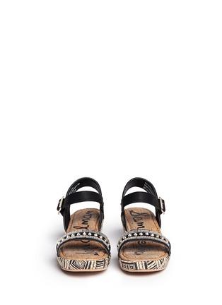 Figure View - Click To Enlarge - Sam Edelman - 'Stella' junior raffia wedge platform sandals