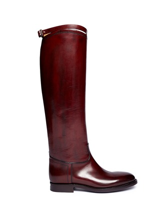 Main View - Click To Enlarge - ALBERTO FASCIANI - Top strap leather riding boots