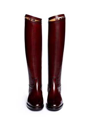 Figure View - Click To Enlarge - ALBERTO FASCIANI - Top strap leather riding boots
