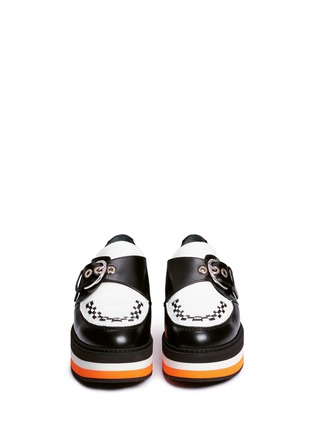 Front View - Click To Enlarge - Mulberry - 'Flag' woven vamp monk strap leather platforms