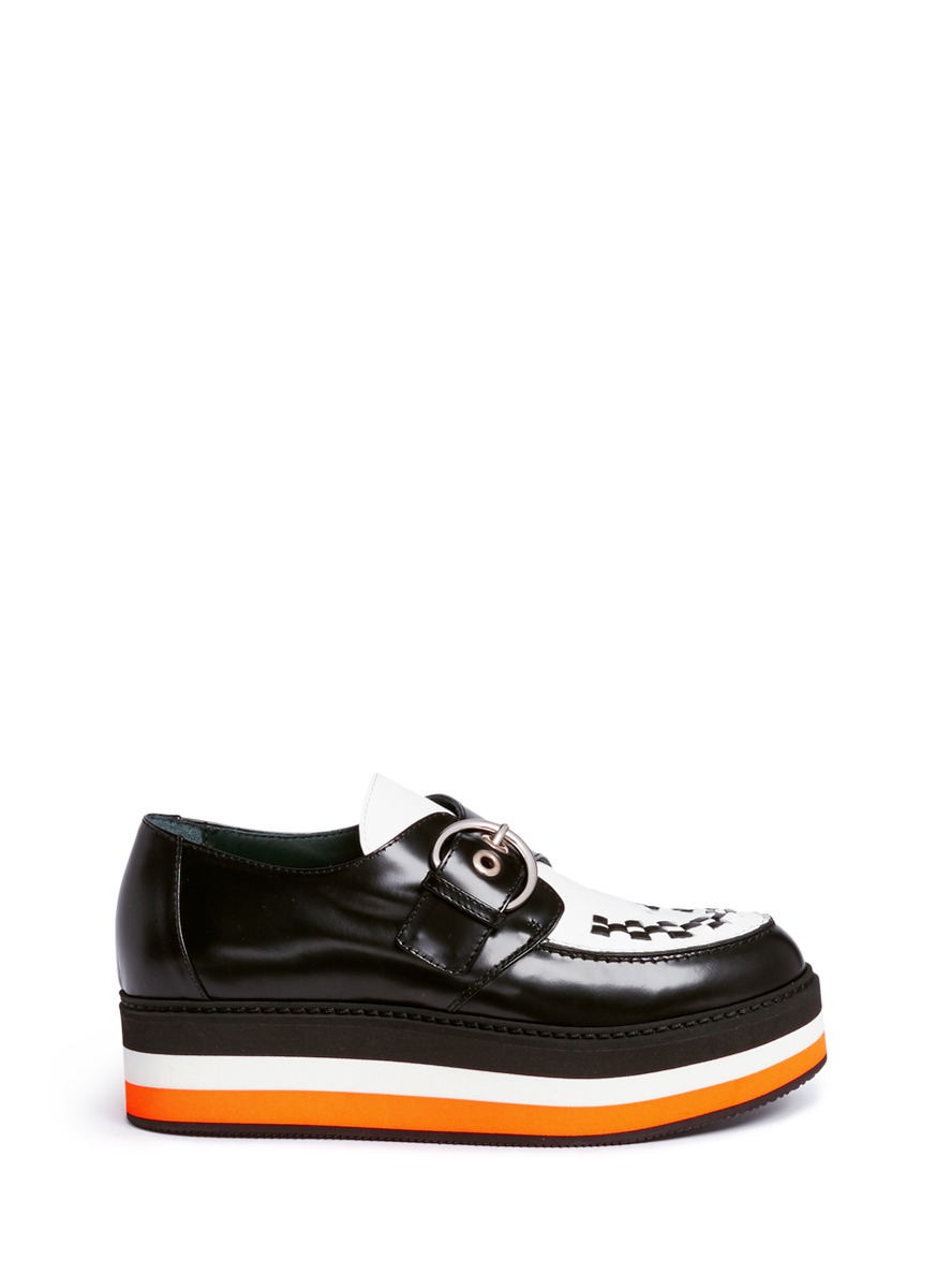 Flag woven vamp monk strap leather platforms by Mulberry
