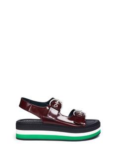 MulberryStripe platform buckled leather sandals