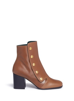 Main View - Click To Enlarge - Mulberry - 'Marylebone' press stud leather boots