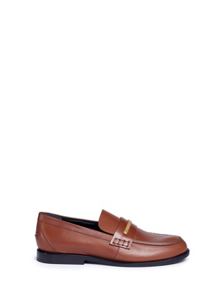Main View - Click To Enlarge - Mulberry - 'Cambridge bar' leather loafers