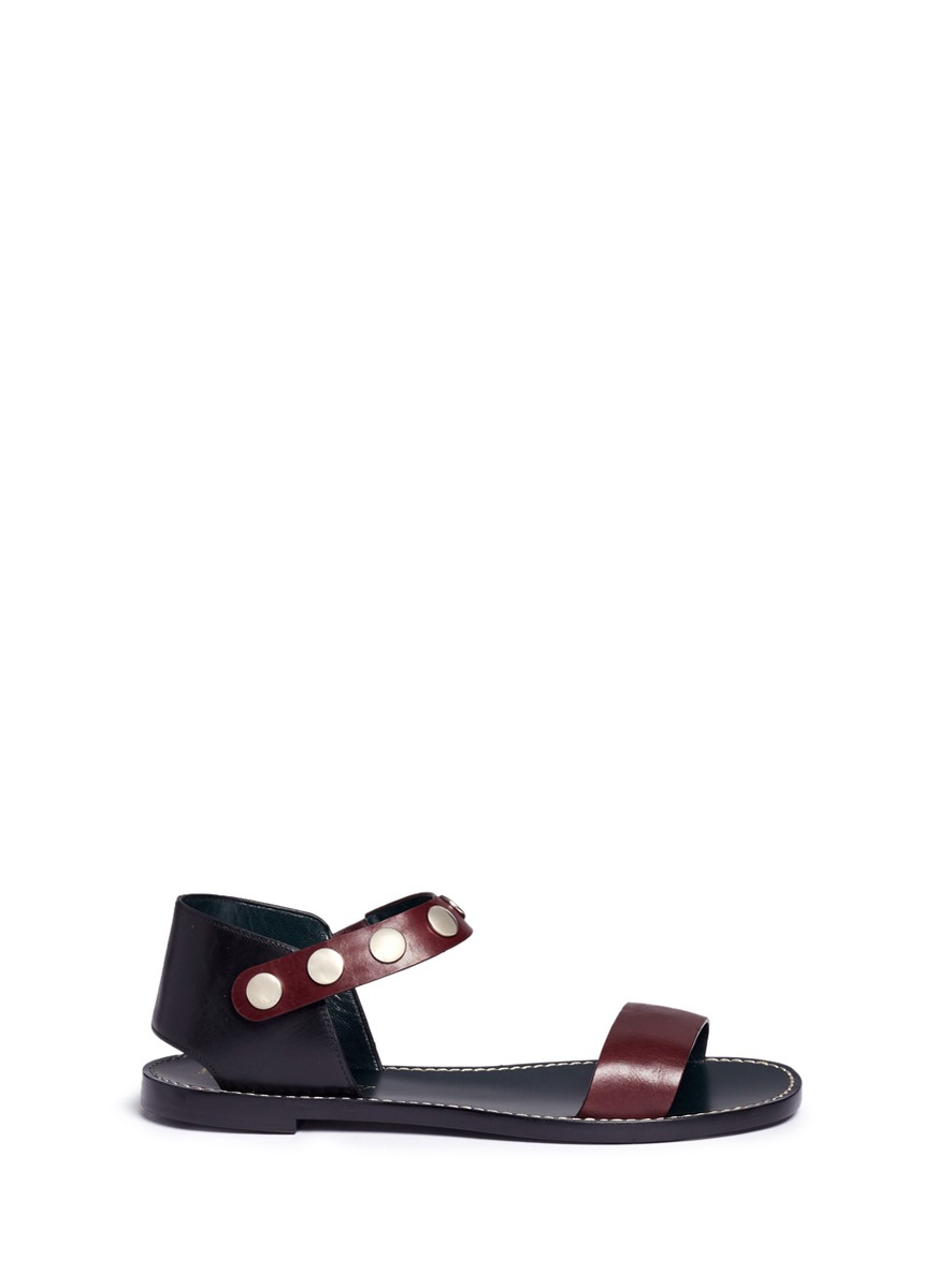 Press stud strap leather sandals by Mulberry
