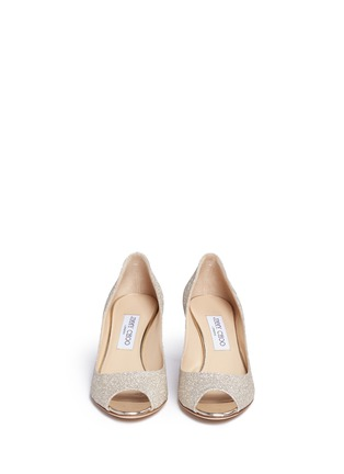 Front View - Click To Enlarge - Jimmy Choo - 'Isabel' peep toe glitter pumps