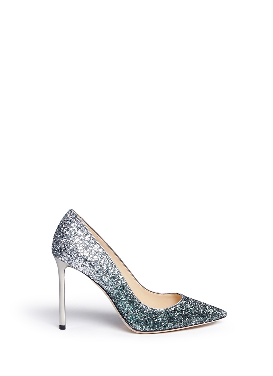 Romy dégradé coarse glitter pumps by Jimmy Choo