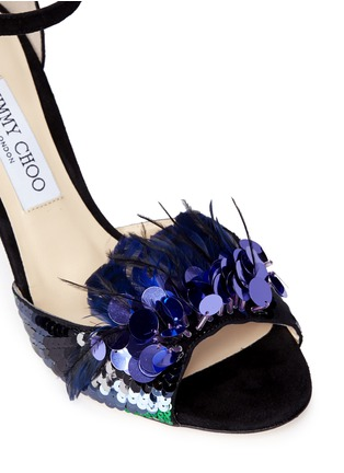 Detail View - Click To Enlarge - Jimmy Choo - 'Annie 85' feather sequin suede sandals