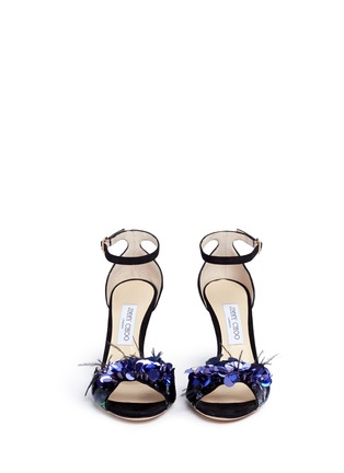 Front View - Click To Enlarge - Jimmy Choo - 'Annie 85' feather sequin suede sandals
