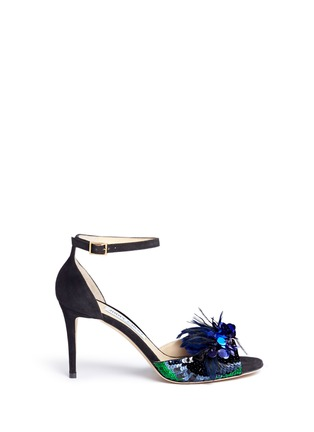 Main View - Click To Enlarge - Jimmy Choo - 'Annie 85' feather sequin suede sandals