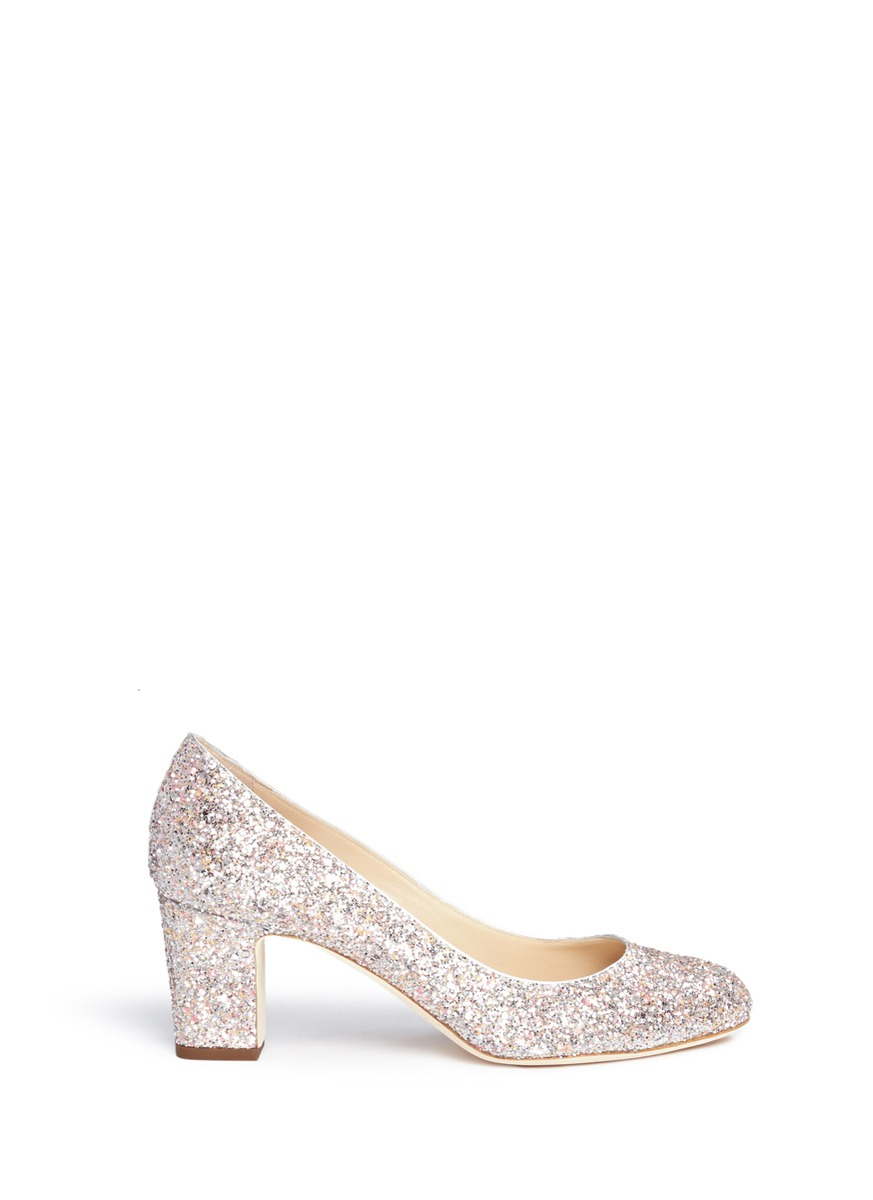 Billie 65 speckled coarse glitter pumps by Jimmy Choo