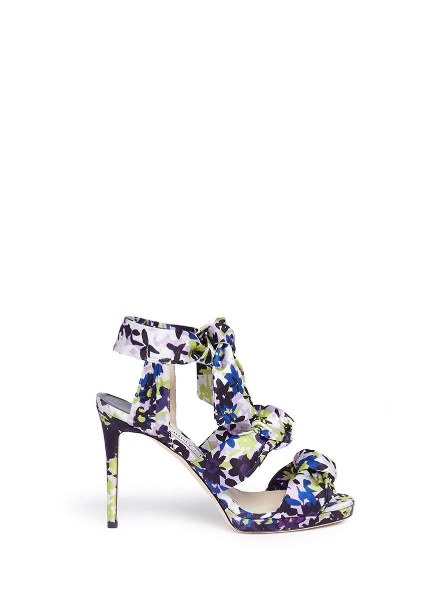 Kris 100 camoflower print satin bow sandals by Jimmy Choo