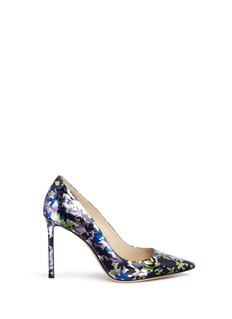 Jimmy Choo 'Romy 100' camoflower print mirror leather pumps