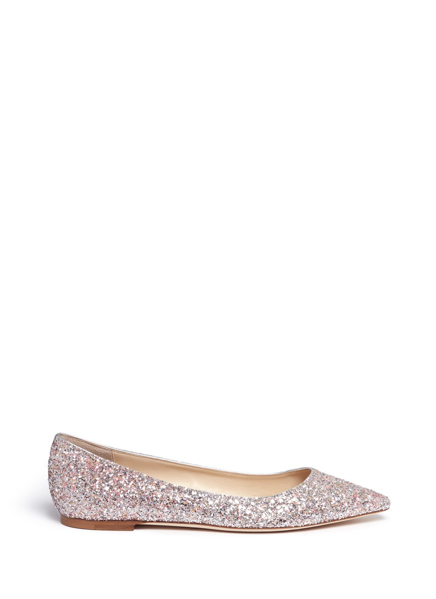 Romy speckled coarse glitter skimmer flats by Jimmy Choo