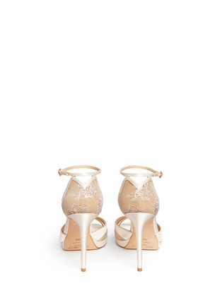 Back View - Click To Enlarge - Jimmy Choo - 'Talia 100' metallic floral lace satin sandals