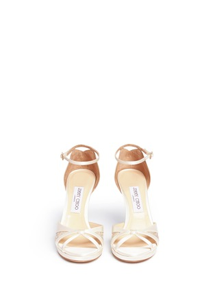 Front View - Click To Enlarge - Jimmy Choo - 'Talia 100' metallic floral lace satin sandals