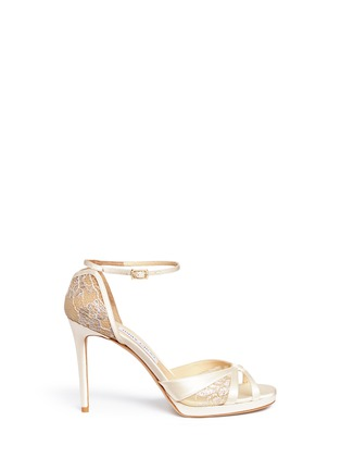 Main View - Click To Enlarge - Jimmy Choo - 'Talia 100' metallic floral lace satin sandals