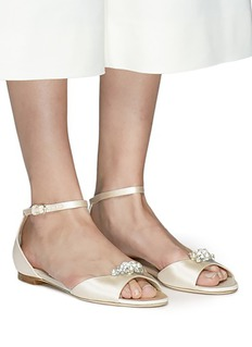 Jimmy Choo 'Tori' detachable Swarovski jewel clip satin flats