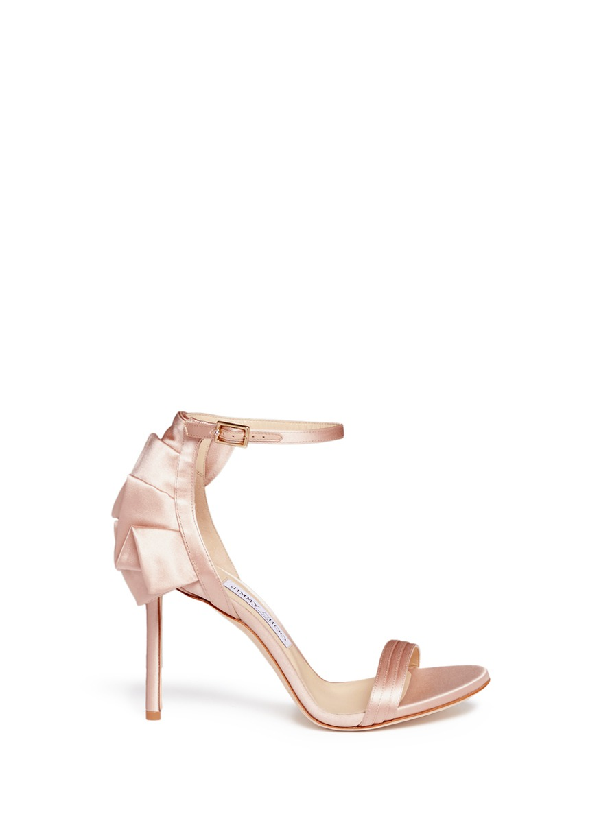 Kerry 100 pleated ruffle satin sandals by Jimmy Choo