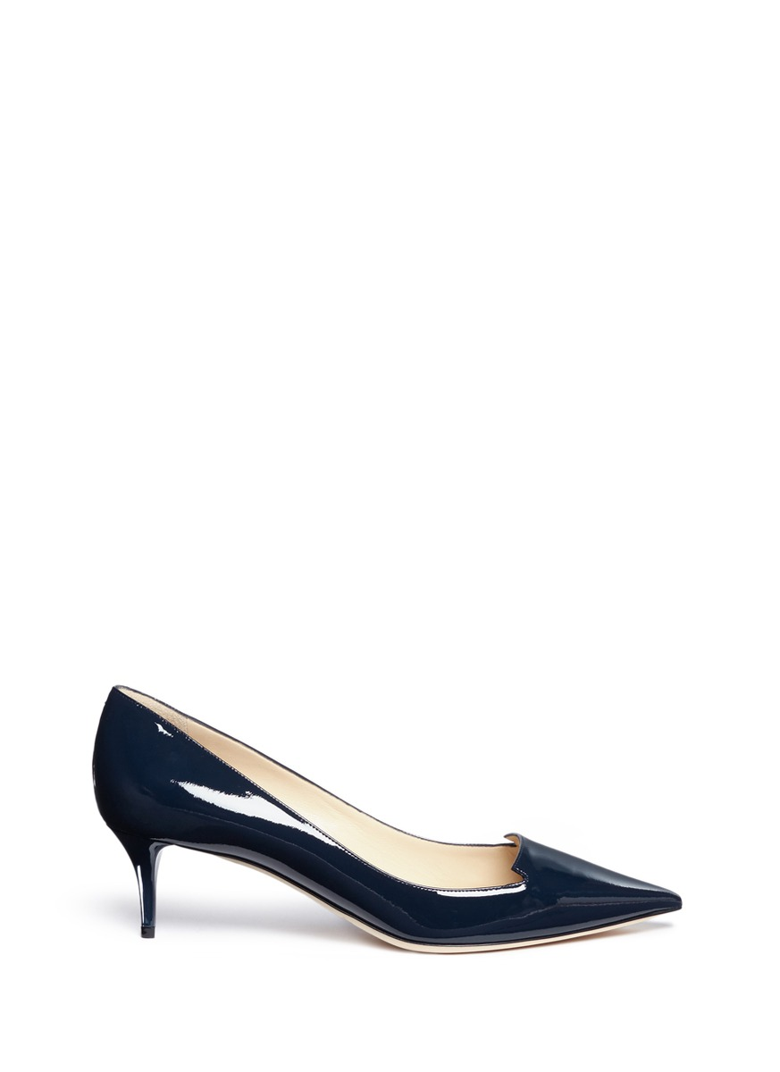 Allure notched vamp patent leather pumps by Jimmy Choo