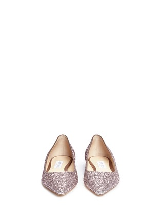 Front View - Click To Enlarge - Jimmy Choo - 'Romy' coarse glitter skimmer flats