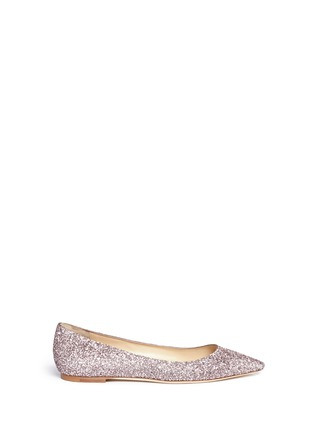 Main View - Click To Enlarge - Jimmy Choo - 'Romy' coarse glitter skimmer flats