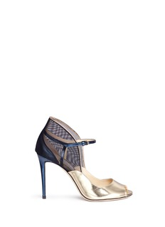 Jimmy Choo 'Trudie 100' mixed mirror leather mesh sandals