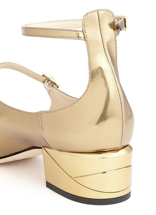 Detail View - Click To Enlarge - Jimmy Choo - 'Wilbur 40' chunky heel mirror leather Mary Jane pumps
