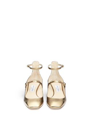 Front View - Click To Enlarge - Jimmy Choo - 'Wilbur 40' chunky heel mirror leather Mary Jane pumps