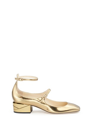 Main View - Click To Enlarge - Jimmy Choo - 'Wilbur 40' chunky heel mirror leather Mary Jane pumps