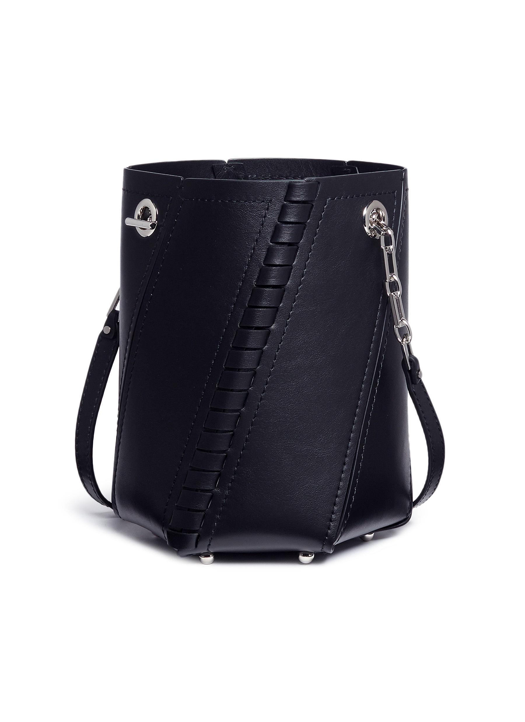 Hex mini bonded whipstich leather bucket bag by Proenza Schouler