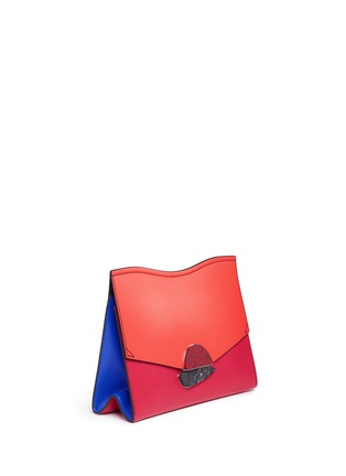 Detail View - Click To Enlarge - Proenza Schouler - 'Curl' medium colourblock leather flap clutch
