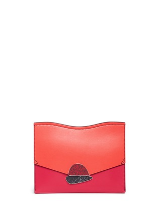 Main View - Click To Enlarge - Proenza Schouler - 'Curl' medium colourblock leather flap clutch