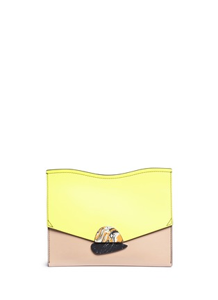 Main View - Click To Enlarge - Proenza Schouler - 'Curl' medium colourblock leather flap clutch