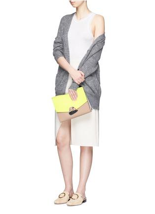 Figure View - Click To Enlarge - Proenza Schouler - 'Curl' medium colourblock leather flap clutch
