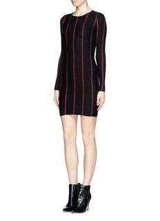 RVNVertical stripe' jacquard bodycon dress