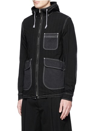Front View - Click To Enlarge - Comme Des Garçons Homme - Stripe garment dyed cotton blend hood jacket