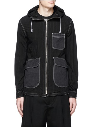 Main View - Click To Enlarge - Comme Des Garçons Homme - Stripe garment dyed cotton blend hood jacket