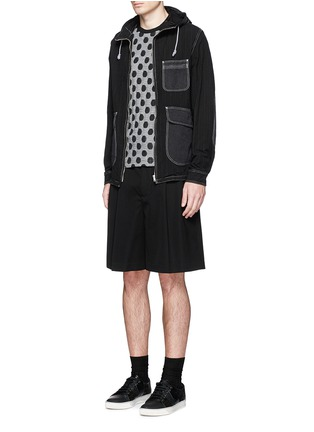 Figure View - Click To Enlarge - Comme Des Garçons Homme - Stripe garment dyed cotton blend hood jacket