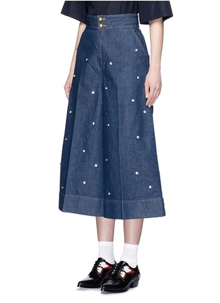 Front View - Click To Enlarge - Muveil - Jewel embellished denim culottes