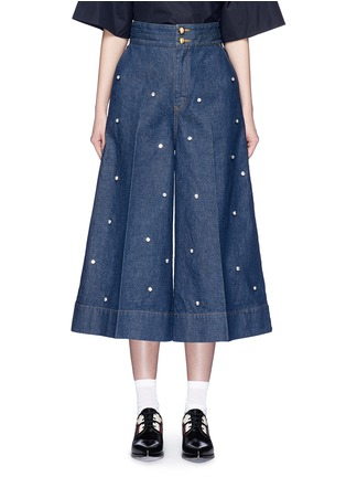 Main View - Click To Enlarge - Muveil - Jewel embellished denim culottes