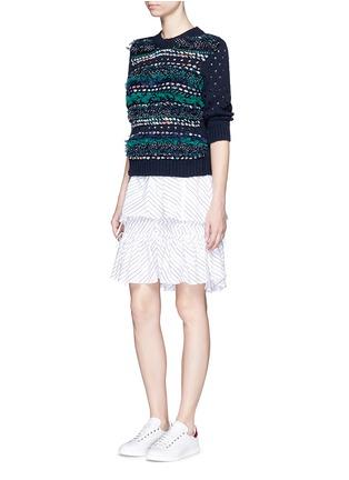 模特儿示范图 - 点击放大 - MUVEIL - 蝴蝶结饰条纹针织衫