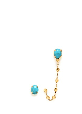 Main View - Click To Enlarge - Ela Stone - 'Liad Crochet' turquoise chain ear cuff and stud earring set