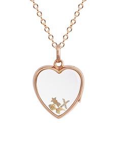 Loquet London14k rose gold rock crystal heart locket – Medium 18mm