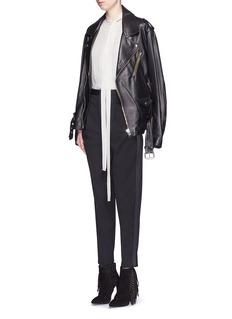 SAINT LAURENTSatin tuxedo stripe wool hopsack pants