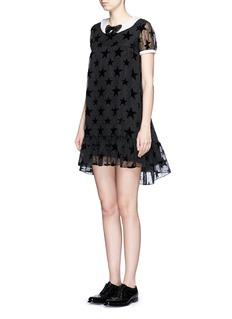 SAINT LAURENTBow collar star plumetis babydoll dress