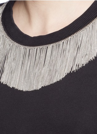 Detail View - Click To Enlarge - SAINT LAURENT - Metal fringe neck cotton sweatshirt