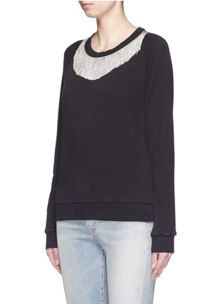 Front View - Click To Enlarge - SAINT LAURENT - Metal fringe neck cotton sweatshirt