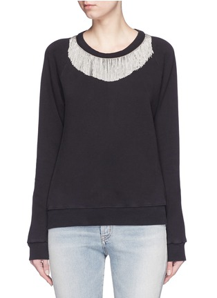 Main View - Click To Enlarge - SAINT LAURENT - Metal fringe neck cotton sweatshirt